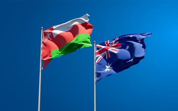 Красивые национальные государственные флаги омана и австралии вместе