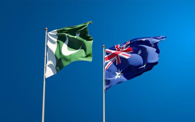 一緒にパキスタンとオーストラリアの美しい国の旗