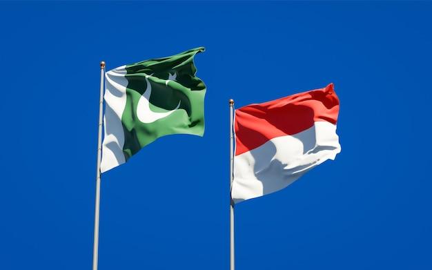 青い空に一緒にパキスタンとインドネシアの美しい国の旗