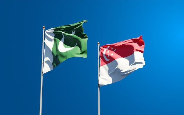 一緒にパキスタンとシンガポールの美しい国の旗