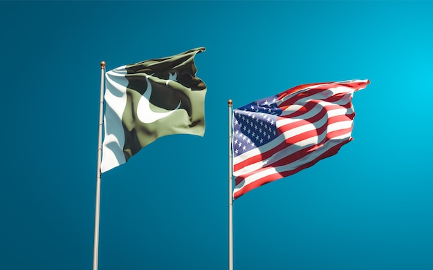 一緒にパキスタンとアメリカの美しい国の旗