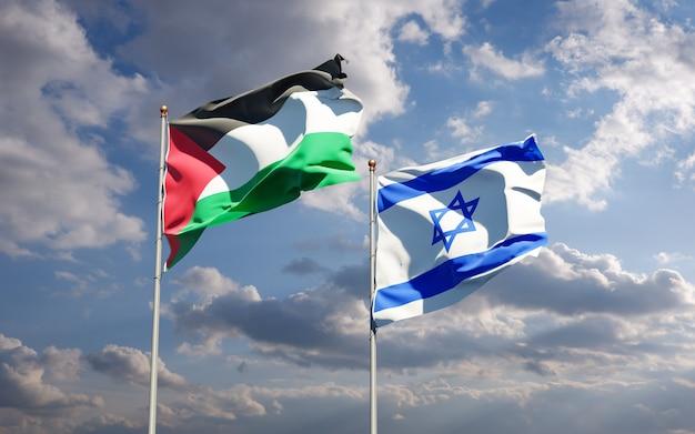 Красивые национальные государственные флаги палестины и израиля вместе на фоне неба. концепция 3d-изображения.
