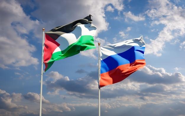 Красивые национальные государственные флаги палестины и россии вместе на голубом небе. 3d изображение