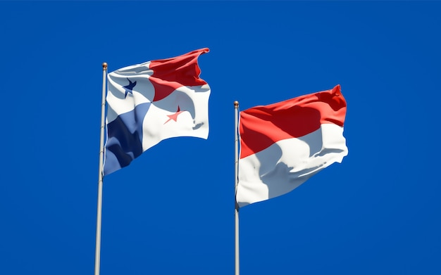 푸른 하늘에 함께 파나마와 인도네시아의 아름다운 국가 플래그