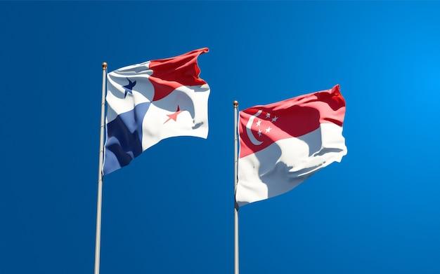 一緒にパナマとシンガポールの美しい国の旗
