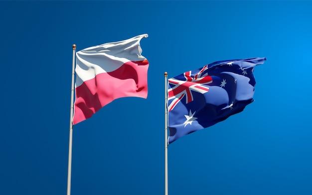 Красивые национальные государственные флаги польши и австралии вместе