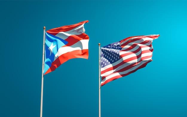 Красивые национальные государственные флаги пуэрто-рико и сша вместе