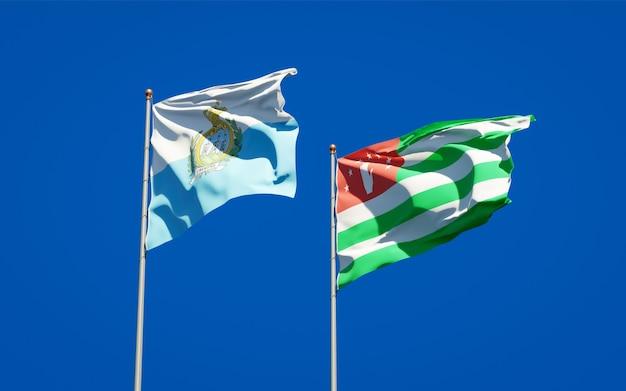 サンマリノとアブハジアの美しい国旗を一緒に