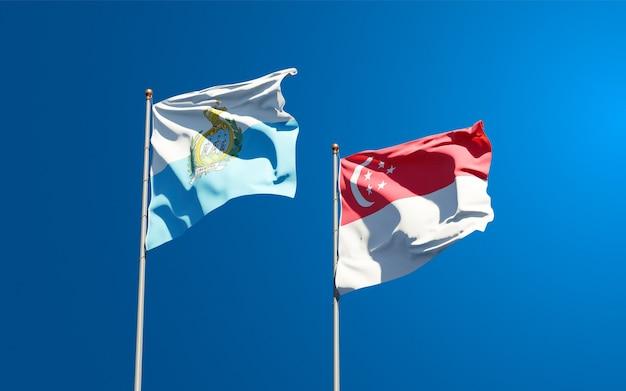 サンマリノとシンガポールの美しい国旗を一緒に