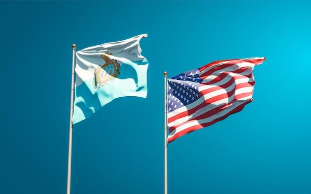 サンマリノとアメリカの美しい国旗を一緒に