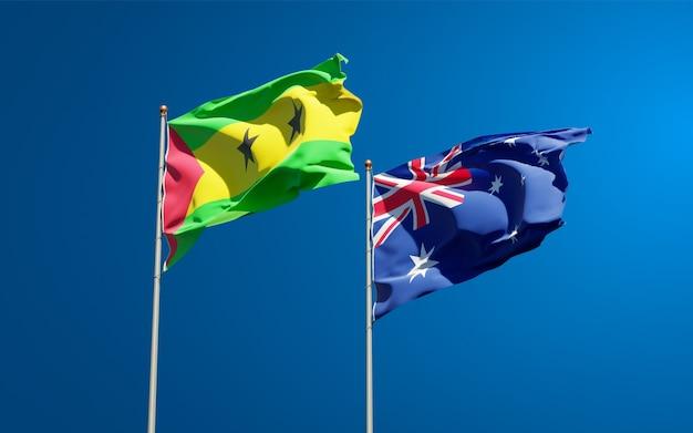 Красивые национальные государственные флаги сан-томе и принсипи и австралии вместе