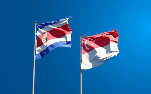 Красивые национальные государственные флаги сингапура и коста-рики
