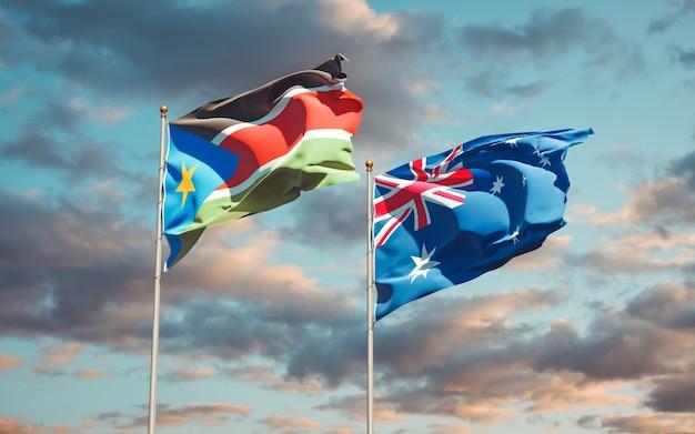 Красивые национальные государственные флаги южного судана и австралии вместе