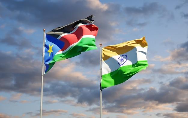 Красивые национальные государственные флаги южного судана и индии вместе