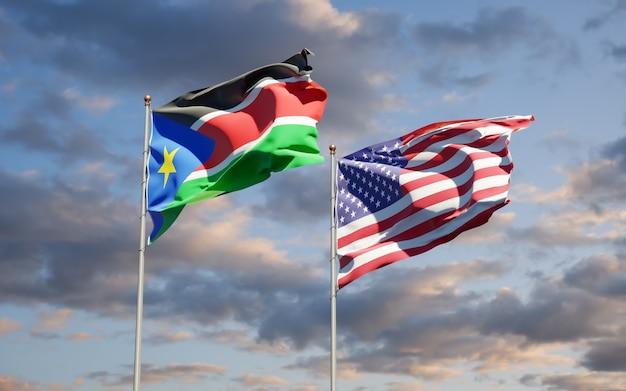 Красивые национальные государственные флаги южного судана и сша вместе