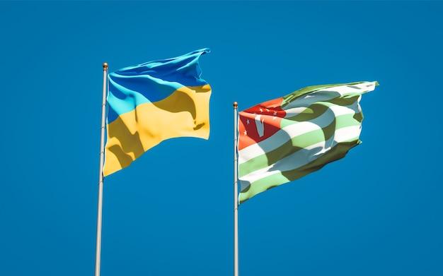 Красивые национальные государственные флаги украины и абхазии вместе