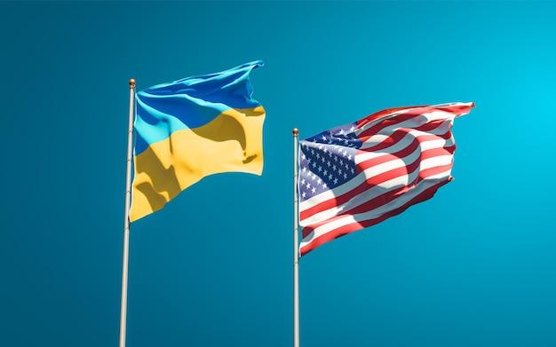 Красивые национальные государственные флаги украины и сша вместе