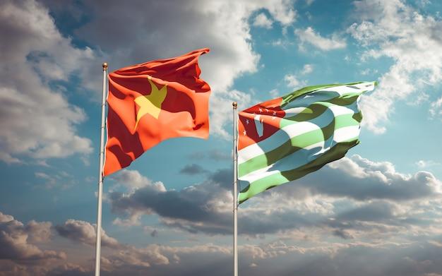 Красивые национальные государственные флаги вьетнама и абхазии вместе