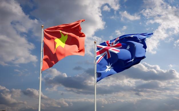 Красивые национальные государственные флаги вьетнама и австралии вместе