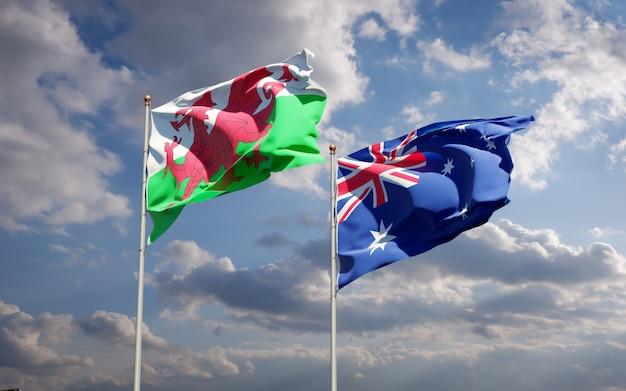 一緒にウェールズとオーストラリアの美しい国の旗