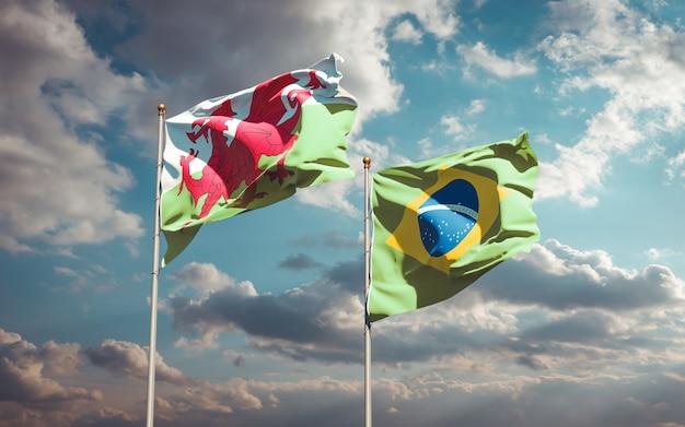 青い空に一緒にウェールズとブラジルの美しい国の旗