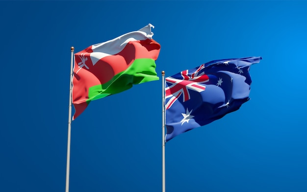 Beautiful national state flags of oman and australia together