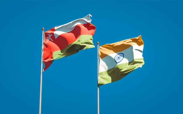 Beautiful national state flags of oman and india together