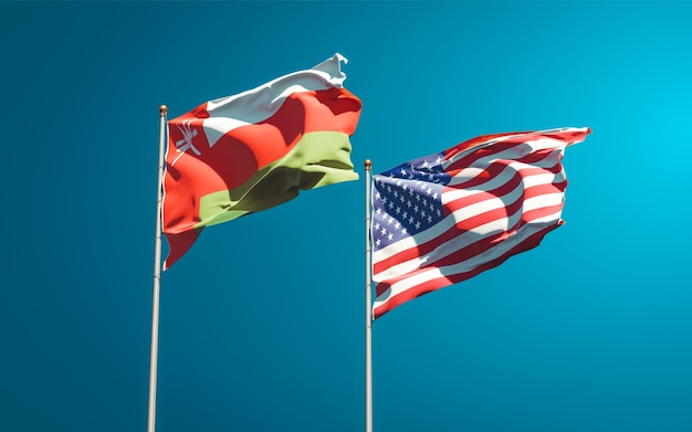 Beautiful national state flags of oman and usa together
