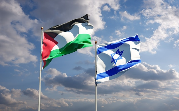 Beautiful national state flags of palestine and israel together at the sky background. 3d artwork concept.