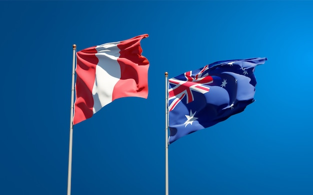 Beautiful national state flags of peru and australia together