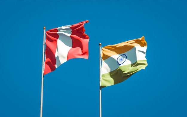 Beautiful national state flags of peru and india together