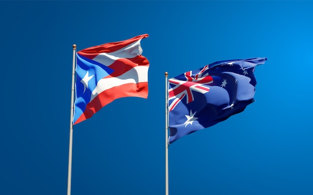 Beautiful national state flags of puerto rico and australia together