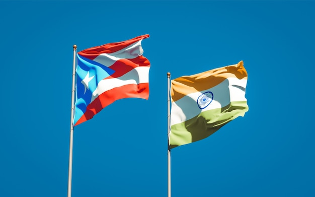 Beautiful national state flags of puerto rico and india together