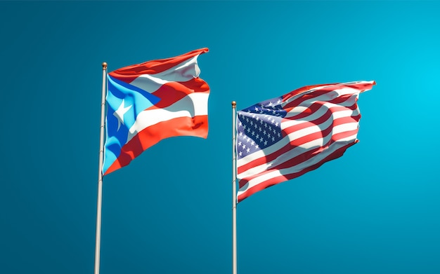 Beautiful national state flags of puerto rico and usa together