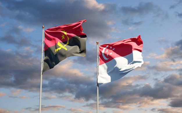 Beautiful national state flags of singapore and angola