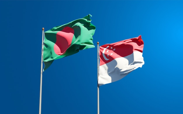 Beautiful national state flags of singapore and bangladesh