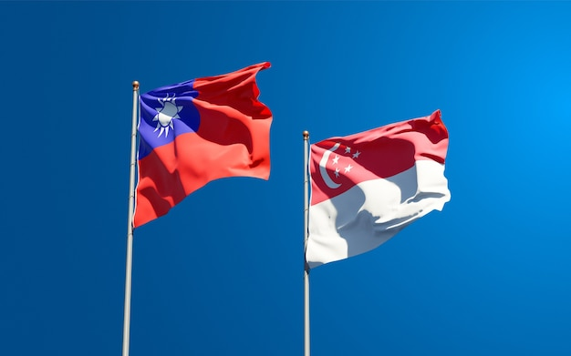 Beautiful national state flags of singapore and taiwan