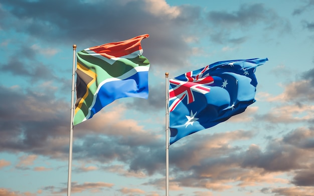 Beautiful national state flags of south africa and australia together