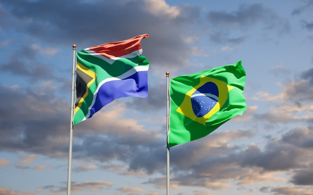 Beautiful national state flags of south africa and brasil together on blue sky