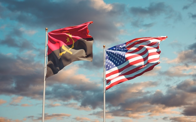 Beautiful national state flags of usa and angola together