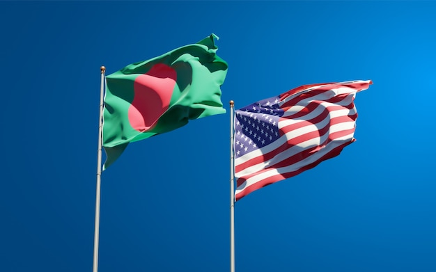 Beautiful national state flags of usa and bangladesh together