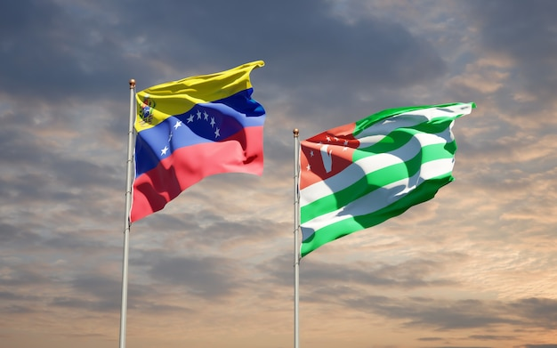 Beautiful national state flags of venezuela and abkhazia together