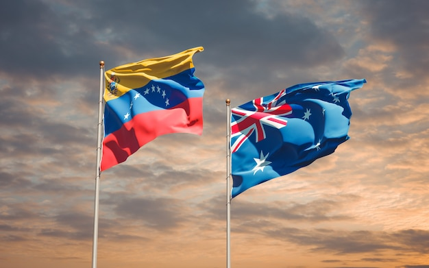 Beautiful national state flags of venezuela and australia together