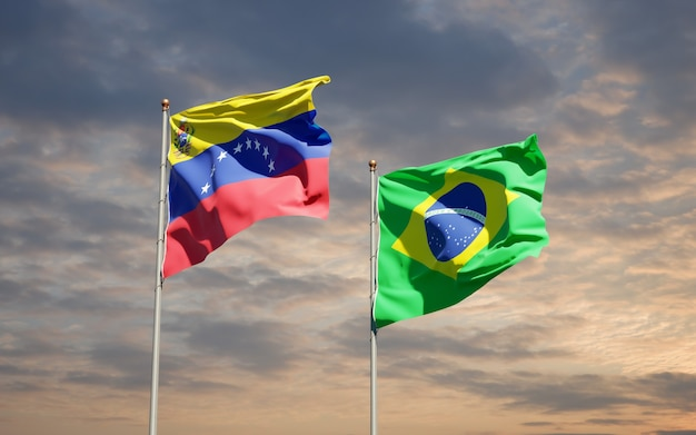 Beautiful national state flags of venezuela and brasil together on blue sky
