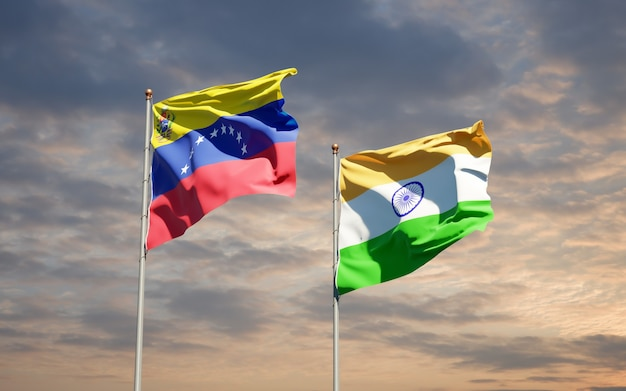 Beautiful national state flags of venezuela and india together