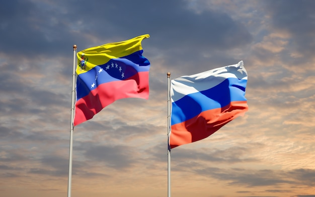 Beautiful national state flags of venezuela and russia together on blue sky. 3d artwork