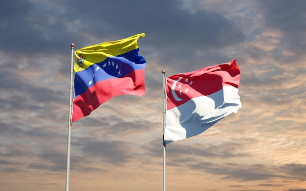 Beautiful national state flags of venezuela and singapore together