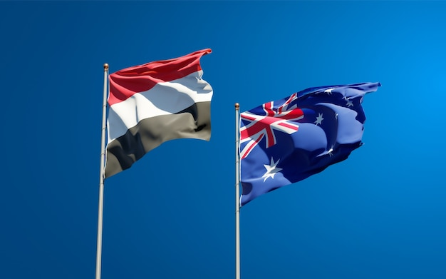 Beautiful national state flags of yemen and australia together