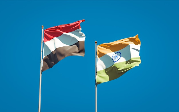 Beautiful national state flags of yemen and india together