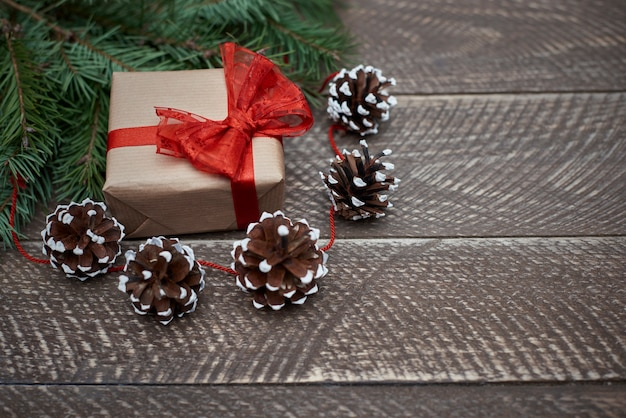 Beautiful natural christmas ornaments and a gift